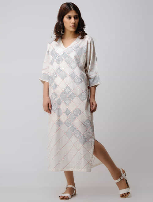 f747412c772 Ivory-Black Block-printed V-Neck Organic Cotton Kaftan with Quilting