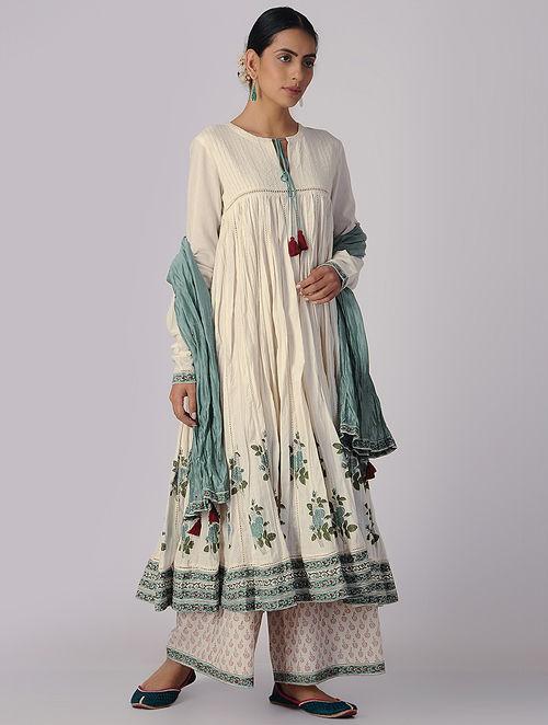 Buy Ivory Green Block Printed Organic Cotton Anarkali