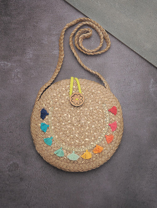 Buy Beige Multicolored Hand Braided Jute Round Sling Bag