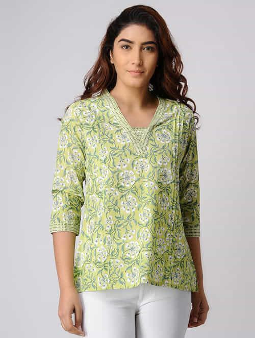 f929aed01cbab Buy Green Block-printed Pintuck Cotton Top Online at Jaypore.com