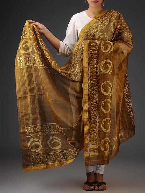 Buy Mustard Brown Silk Cotton Maheshwari Bagru Printed