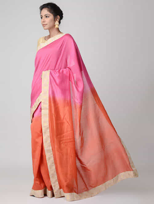 Pink Orange Ombre Dyed Chanderi Saree With Brocade Border Beautiful Sarees Blouses