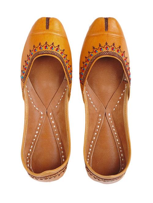 9ba2c00fcdf Buy Mustard Thread-embroidered Leather Juttis Online at Jaypore.com
