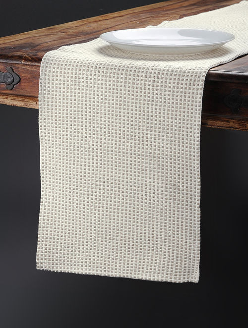 buy beige hand woven cotton table runner 74in x 13in online at
