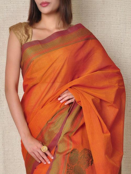 Buy Orange Kanchi Cotton Saree Online at Jayporecom : dsc9588 from www.jaypore.com size 500 x 662 jpeg 74kB