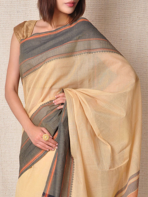 Buy Beige Kanchi Cotton Saree Sheer Online At Jaypore Com