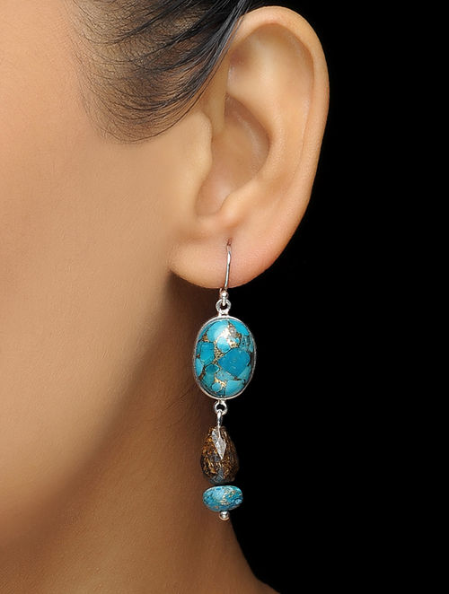ad908bb00ce Buy Blue Turquoise and Bronzite Silver Earrings Online at Jaypore.com