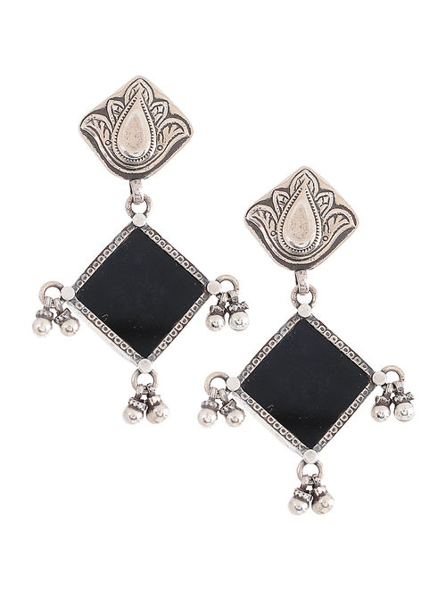 114773726ec Buy Black Enameled Glass Silver Earrings Online at Jaypore.com