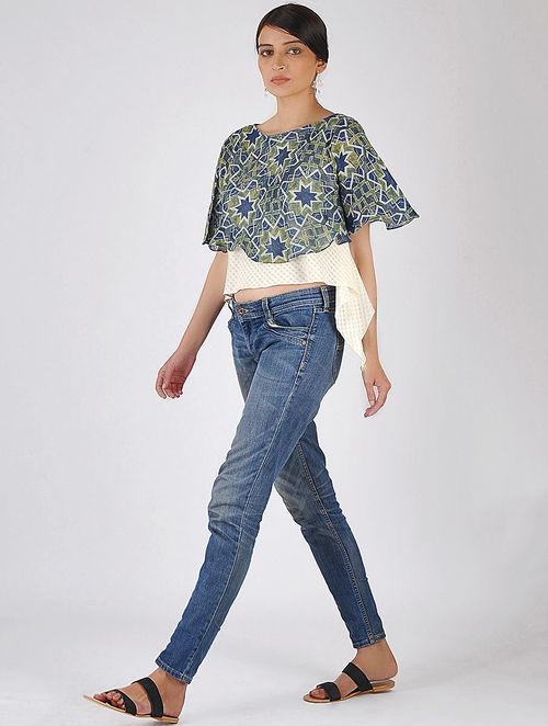 d78ce6600b149 Buy Indigo-Ivory Natural-dyed Ajrakh-printed Handwoven Linen-Khadi ...