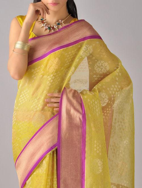 Buy Plum Yellow Kora Silk Saree By Ekaya Online At Jaypore Com