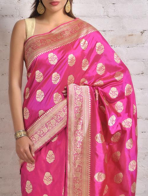 Buy Deep Pink Banarasi Silk Saree by Ekaya Online at  : ekyapsamcnajp61 1 from www.jaypore.com size 500 x 662 jpeg 98kB