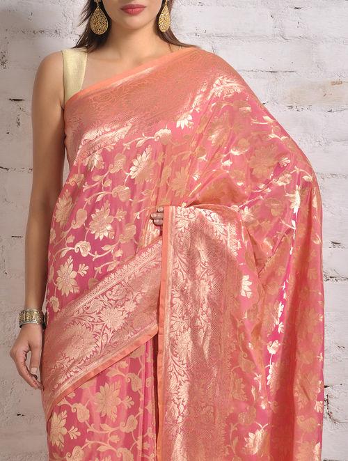 Buy Brink Pink Banarasi Silk Saree By Ekaya Online At