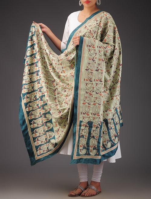 Buy Light Green Silk Kantha Embroidered Dupatta Online At