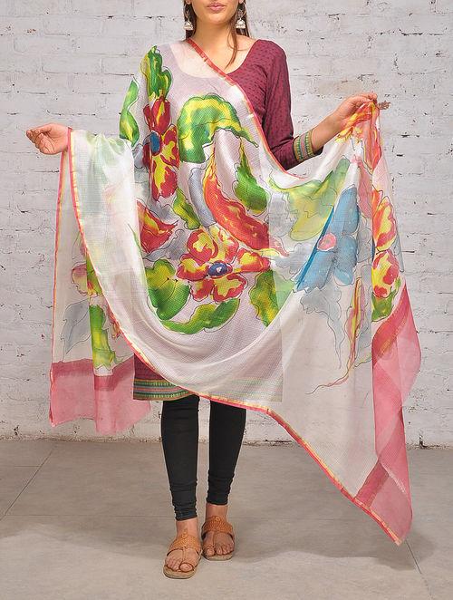 Buy Multi Color Hand Painted Kota Silk Dupatta Online At