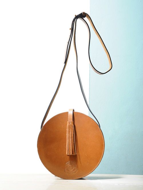 Buy Tan Round Leather Sling Bag Online at Jaypore.com