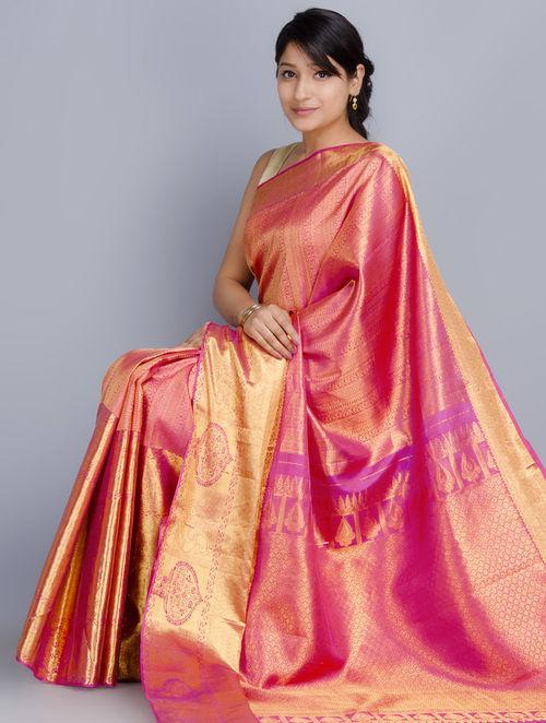 Buy Pink Silk Zari Handwoven Kanchipuram Saree Online At