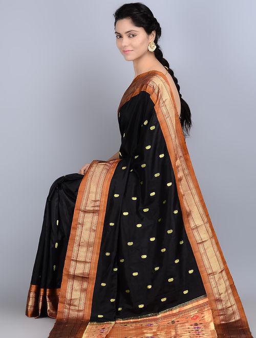 Buy Black Silk Zari Handwoven Paithani Saree by Ghanshyam  : ghnsaj000093266 15 from www.jaypore.com size 500 x 662 jpeg 55kB