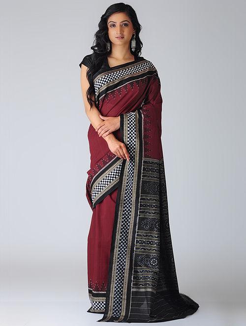 Buy Red Black Sambalpuri Ikat Cotton Saree With Woven