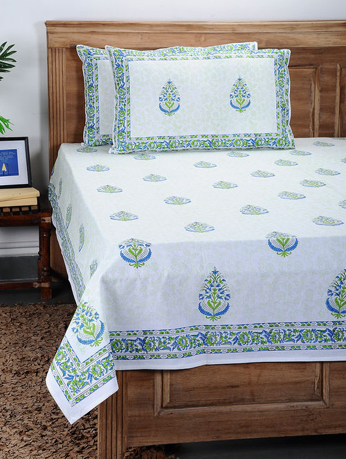 ac936e8100e Blue-Green Block-Printed Cotton Double Bed Cover with Pillow Covers (Set Of  3) Floral Fever