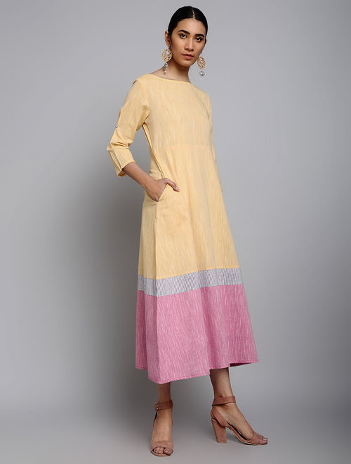 e13d13121d3 Buy Aurora Yellow Yarn-Dyed Cotton Dress Online at Jaypore.com