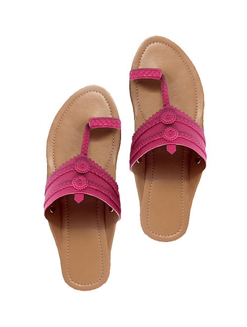 Buy Nude-Pink Handcrafted Leather Flats Online at Jaypore.com 6f06f2ce940fb