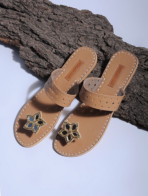 5c48e7ac423835 Buy Tan Paduka Flats Embellished with Mirrors Online at Jaypore.com