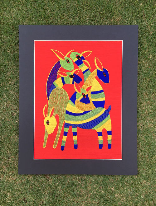 Gond Hiran Red-Blue Embroidered Raw Silk Wall Mounted Tapestry (15in x 12.6in)