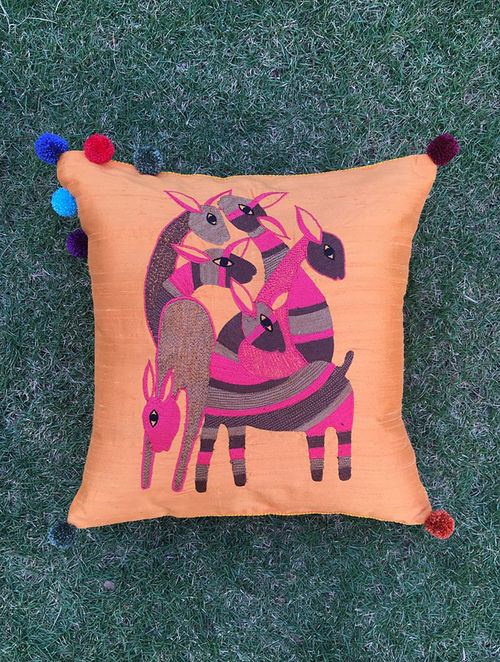 Gond Hiran Peach-Multicolored Embroidered Raw Silk Cushion Cover with Pom-pom