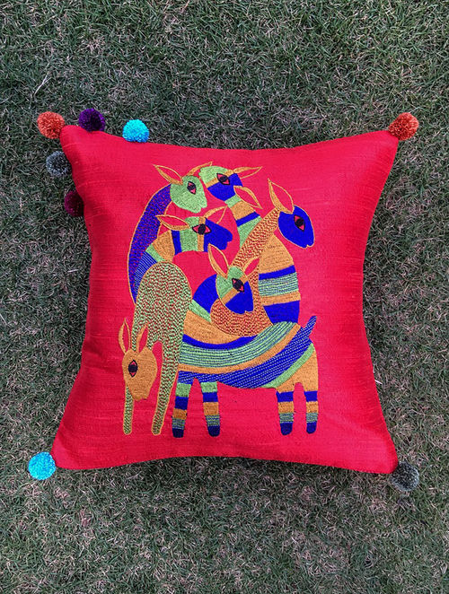 Gond Hiran Red-Multicolored Embroidered Raw Silk Cushion Cover with Pom-pom