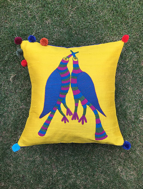 Gond Pakshi Yellow-Multicolored Embroidered Raw Silk Cushion Cover with Pom-pom