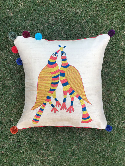 Gond Pakshi White-Multicolored Embroidered Raw Silk Cushion Cover with Pom-pom
