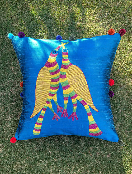 Gond Pakshi Blue-Multicolored Embroidered Raw Silk Cushion Cover with Pom-pom (16in x 16in)