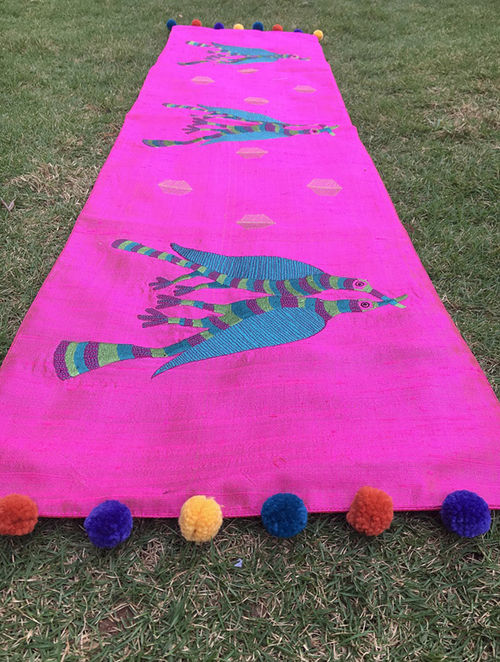 Gond Pakshi Multicolored Embroidered Raw Silk Table Runner with Pom-pom (48in x 12in)