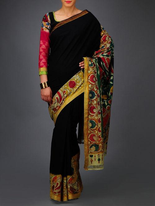 Buy Peacock Kalamkari Mangalgiri Cotton Saree Online At