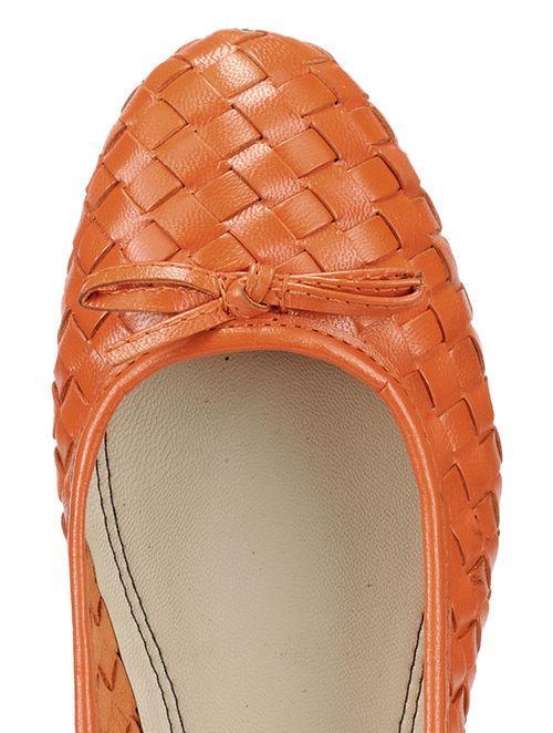 18c1e3a614d Buy Orange Woven Leather Ballerinas Online at Jaypore.com