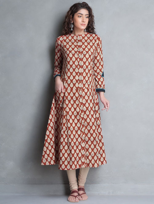 Buy Red Beige Bagru Printed Kalidar Cotton Kurta Online At