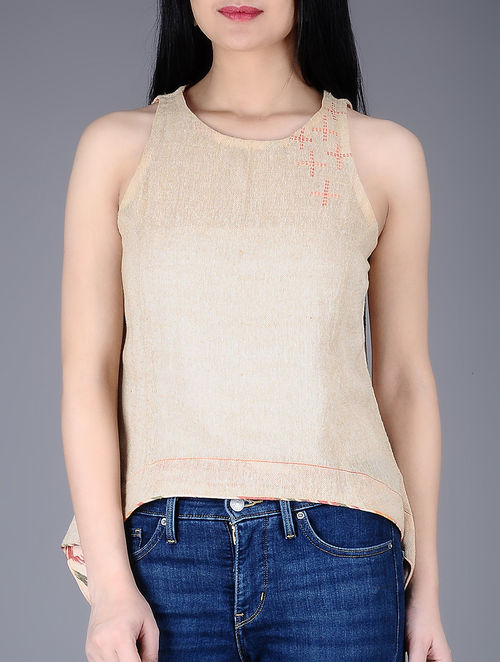 b404ec92c7e999 Buy Beige Embroidered Sleeveless Cotton Jute Top Online at Jaypore ...