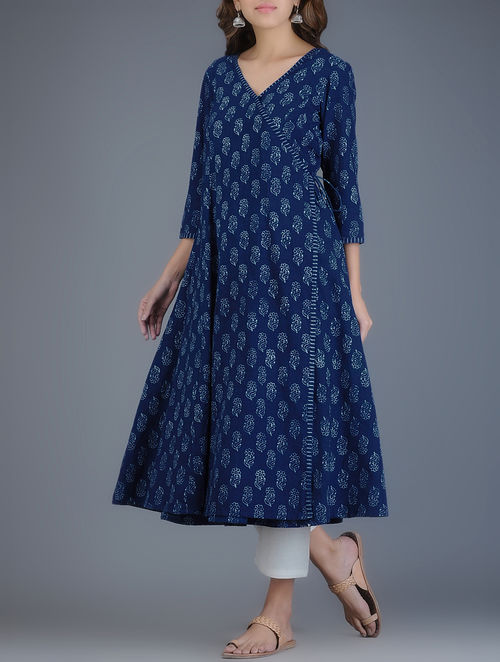 Buy Indigo Ivory Block Printed Khadi Angrakha Kurta Online