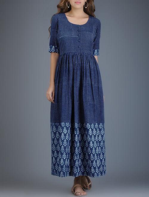 Indigo Dyed Block Printed Khadi Dress