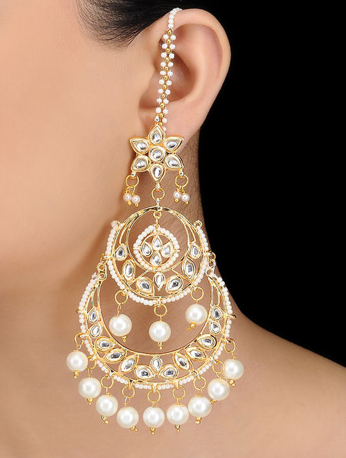 Clic Kundan Inspired Gold Tone Earrings With Pearls