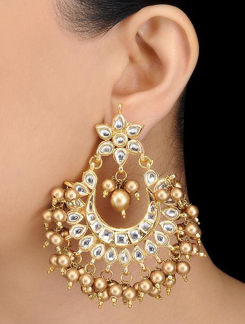Kundan Inspired Gold Tone Earrings With Fl Motif