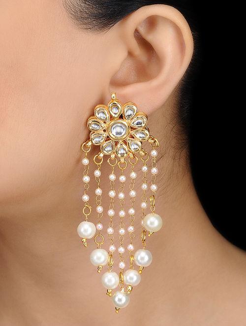 Kundan Inspired Gold Tone Earrings With Fl Design