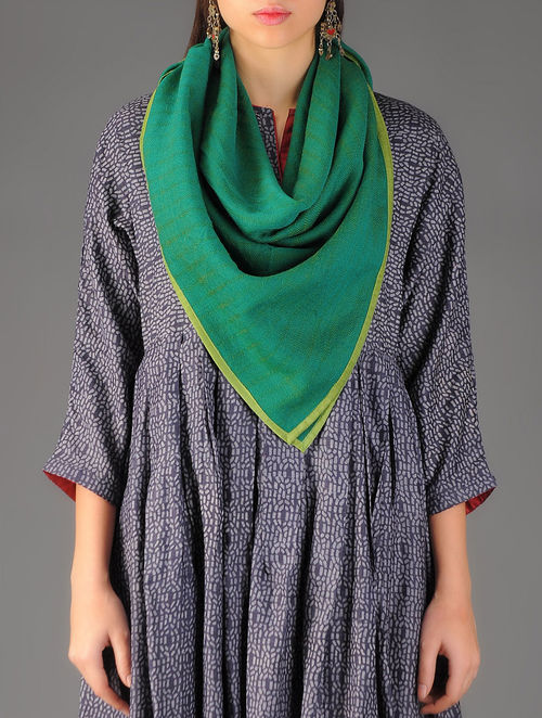 Green Handwoven Merino Wool Scarf