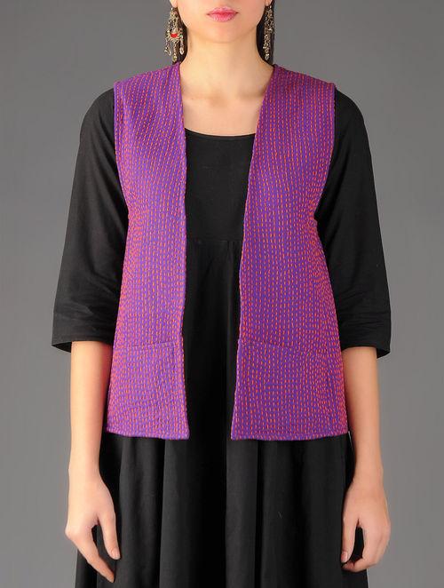 Buy purple orange sujni kantha embroidered quilted