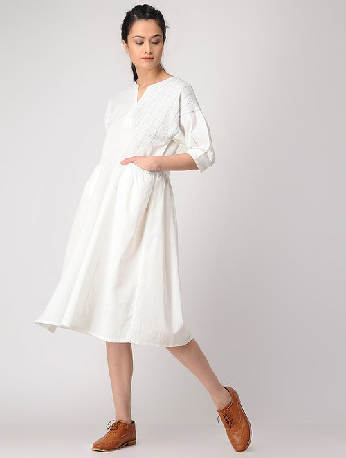 1e2ae3086c2 Buy White Gathered Linen Dress with Pockets Online at Jaypore.com