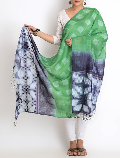 4d8c9e1d9915df Buy Indigo-Green Tussar Silk-Jacquard Stitch Shibori Clamp Dyed ...