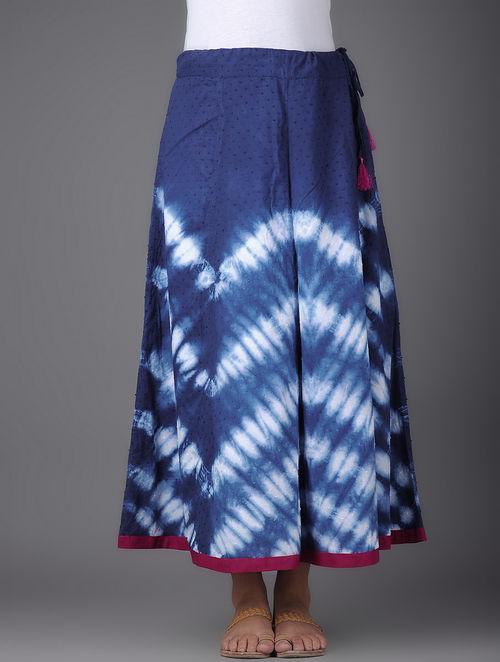 Buy Indigo White Shibori Dyed Tie Up Waist Cotton Maxi