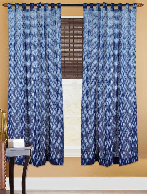 Indigo White Shibori Dyed Cotton Curtain