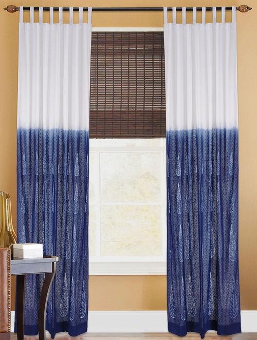 Buy Indigo White Shibori Dyed Cotton Curtain Online At