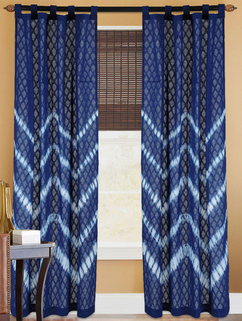 Buy Indigo White Shibori Dyed Cotton Curtain Online At